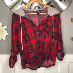 Hooded Flannel Button Down Shirt Drawstring Top